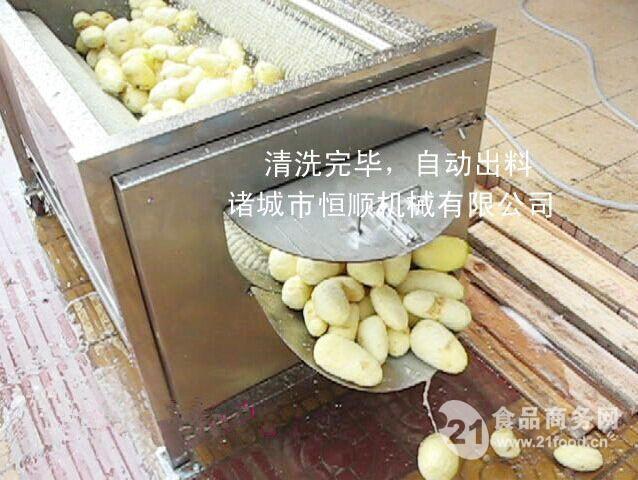 不锈钢全自动土豆脱皮毛刷清洗机