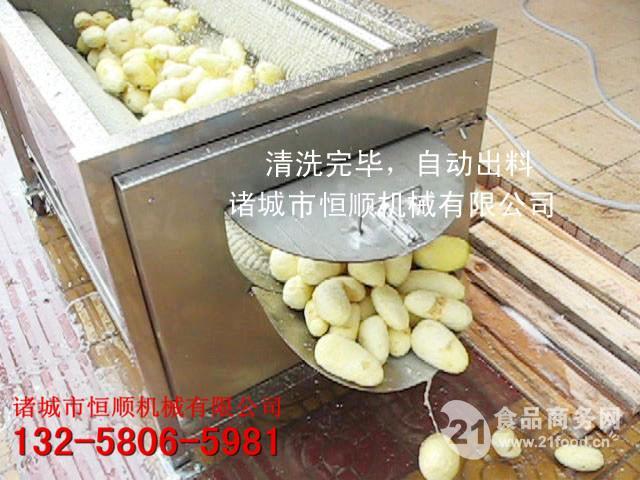 紫薯、莲藕去皮毛刷清洗机 自动出料去皮机
