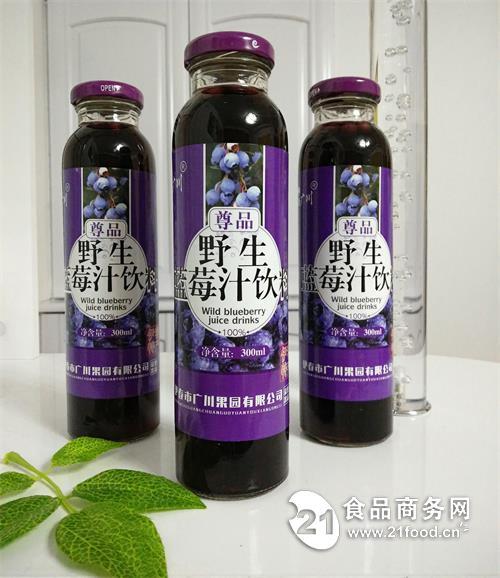 伊春特产隆广川尊品野生蓝莓汁饮料300ml