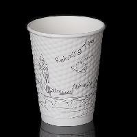 现货批发一次性双层防烫保温纸杯 钻石纹纸杯 蜂巢纸杯360ml
