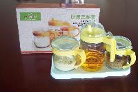 创意时尚厨房家居玻璃油壶玻璃调味罐三件套