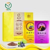 鲲华 葡萄籽油+亚麻籽油 1000ml*2瓶 礼盒装