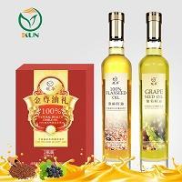 鲲华 葡萄籽油+亚麻籽油 500ml*2瓶 礼盒装