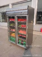 豪华不锈钢展示柜、玻璃门冷冻柜、双门展示