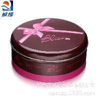 外贸手工曲奇饼干礼盒 粉色蝴蝶结中号曲奇罐 圆形马口铁饼干盒