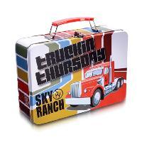 定制长方形圣诞带锁马口铁盒 手挽午餐盒