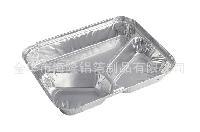 一次性三格打包铝箔便当盒酒店专用品外卖环保可回收锡纸
