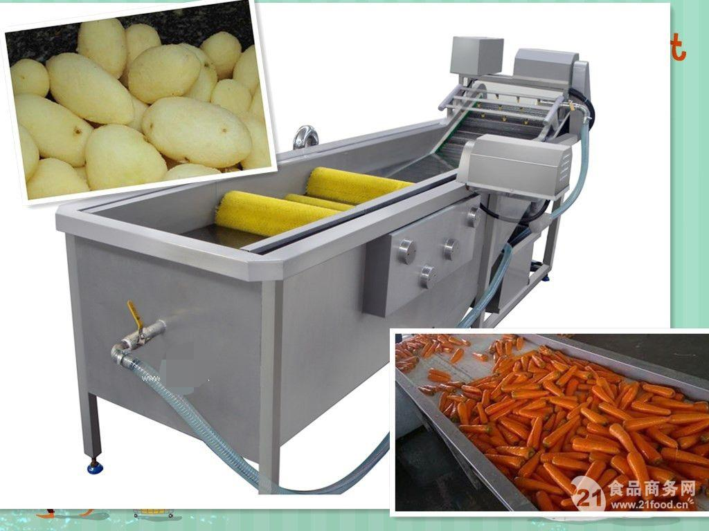 供应诚品萝卜清洗机 萝卜毛刷清洗流水线