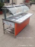 加工定制豪华玻璃罩不锈钢保温售饭台、